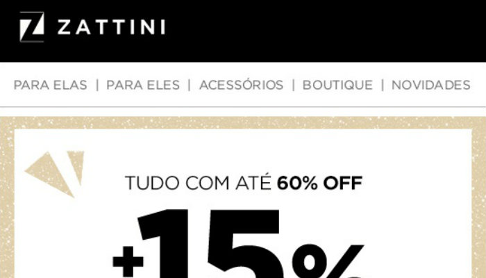 Exemplo de email marketing Zattini