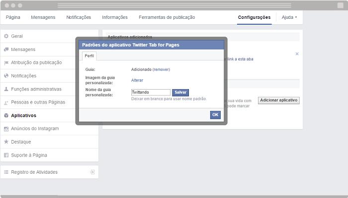 Exemplo de personalização de aplicativo Facebook