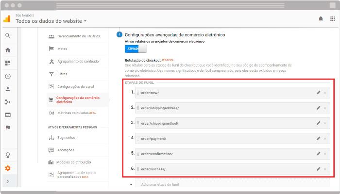 exemplo google analytics checkout