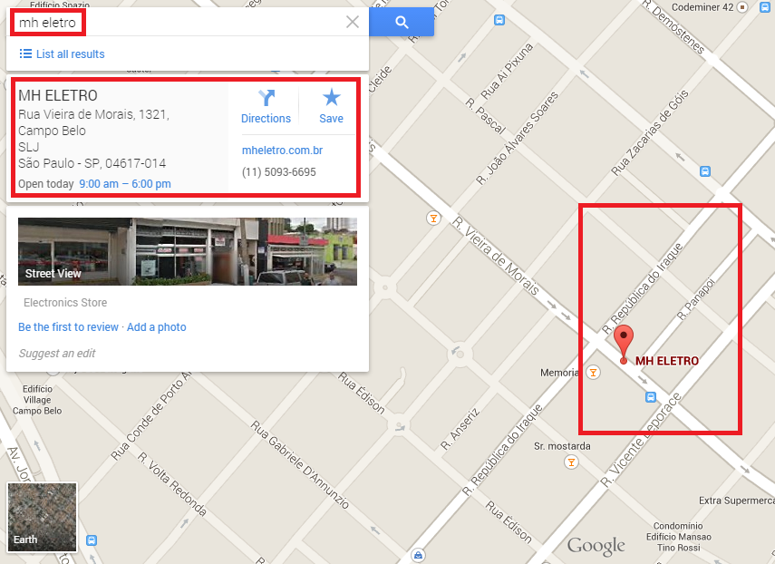 Minha loja no Google Maps
