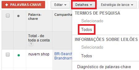 Relatório de termos de pesquisa Google Ads