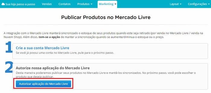 Integração de loja virtual na Nuvem Shop com o MercadoLivre passo 2.