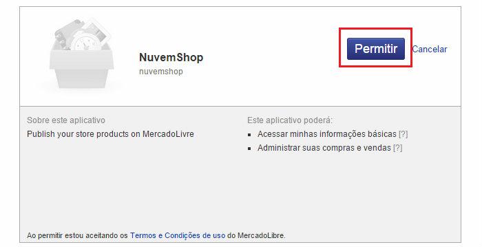 Integração de loja virtual na Nuvem Shop com o MercadoLivre passo 3.