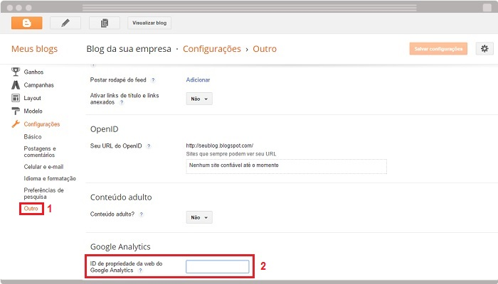 Como integrar Blogger com Google Analytics