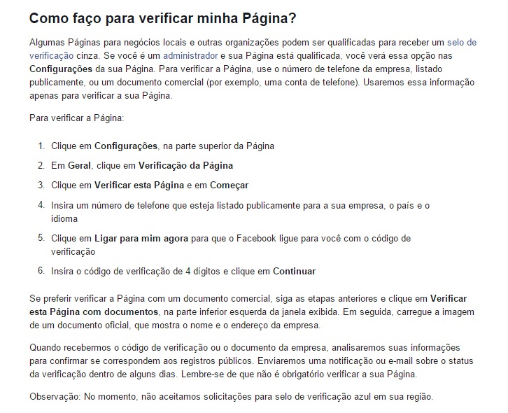 Verificar página no Facebook