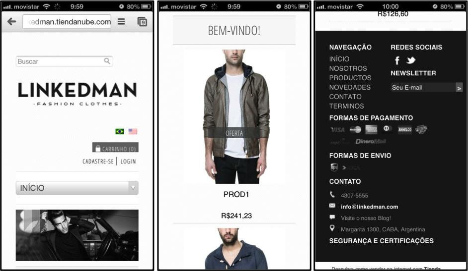 Nuvem Shop para celulares: Layout Responsivo