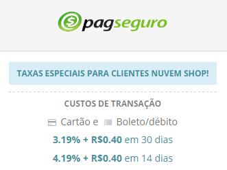 Taxas PagSeguro Nuvem Shop