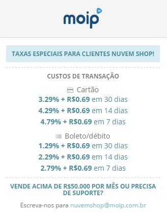 Taxas Moip Nuvem Shop
