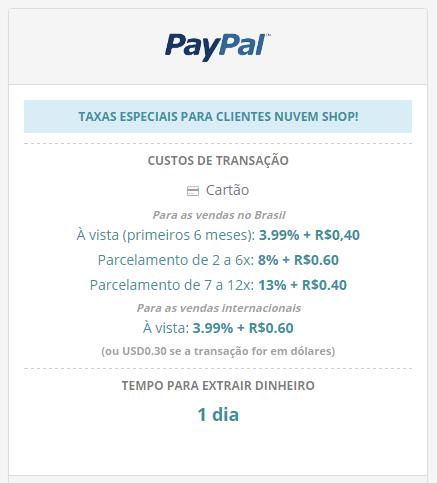 Taxas por compra PayPal