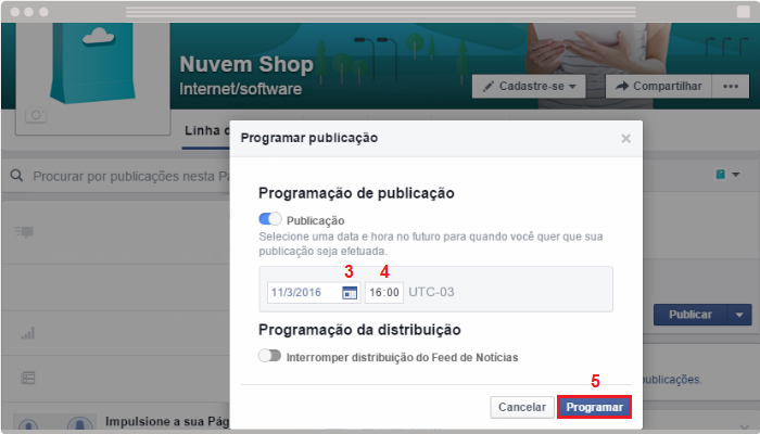Programar post no Facebook