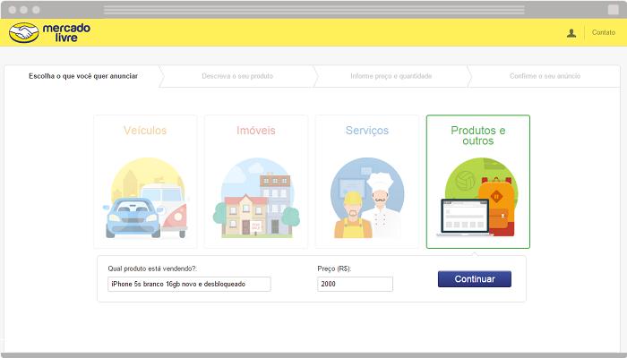 Tutorial sobre como publicar produto no MercadoLivre passo 1.