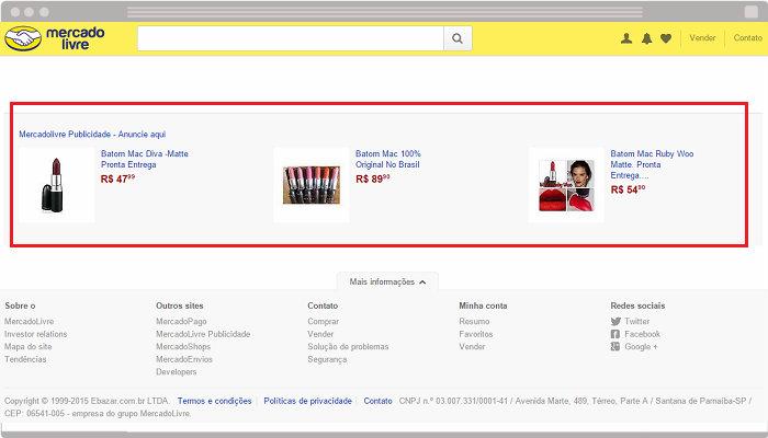 Publicidade do Product Ads no final da página do MercadoLivre.