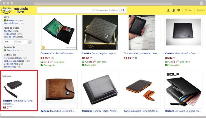 Publicidade do Product Ads na lista de produtos do MercadoLivre.