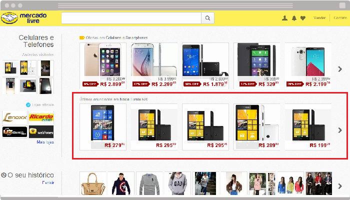 Publicidade do Product Ads na página principal de categorias do MercadoLivre.