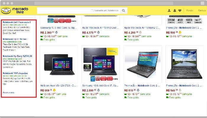 Publicidade do Text Ads na lista de produtos do MercadoLivre.