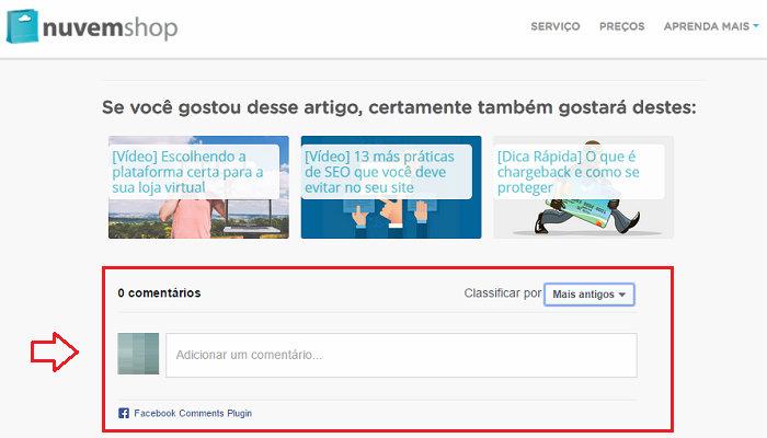 Seção de comentários do Blog do E-commerce da Nuvem Shop.