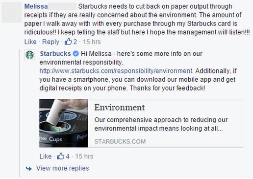 Trecho de atendimento ao cliente em página do Starbucks.