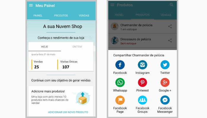 Atualizações aplicativo loja virtual Nuvem Shop