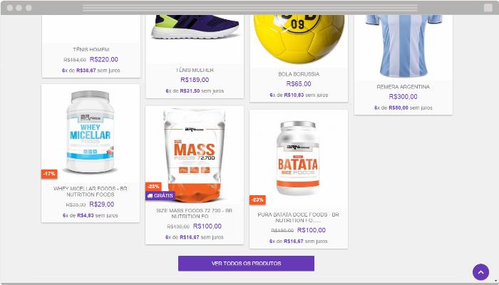 Botão Ver todos os produtos loja virtual