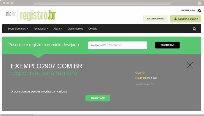 Cadastro de domínio próprio no Registro BR