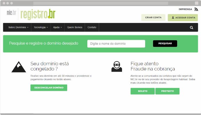 Cadastro de domínio no Registro Br