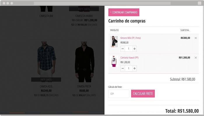 Carrinho de compras loja virtual Nuvemshop