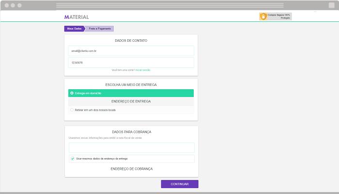 Checkout loja virtual com cores personalizadas Nuvem Shop