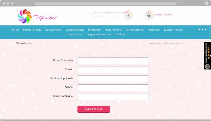 Exemplo de formulário de cadastro Nuvem Shop