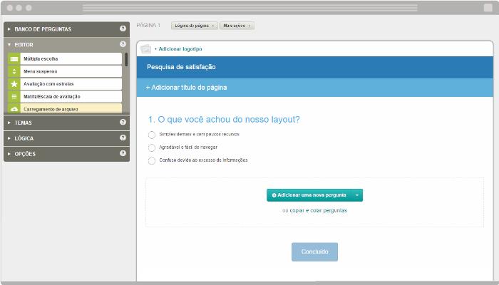 Exemplo pesquisa em loja virtual com Survey Monkey