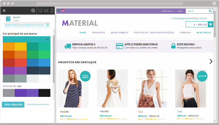 Como personalizar as cores do layout da sua loja virtual com a Nuvem Shop