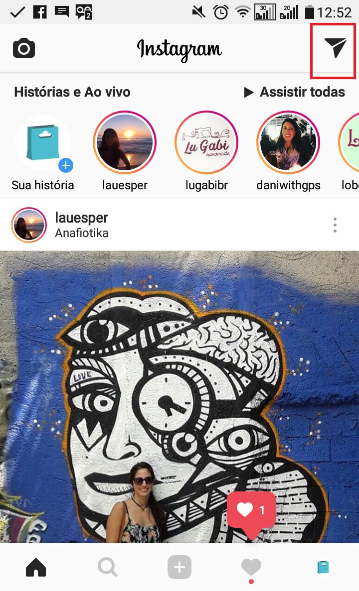 Quadrado vermelho mostra onde acessar as interações do seu Instagram Stories