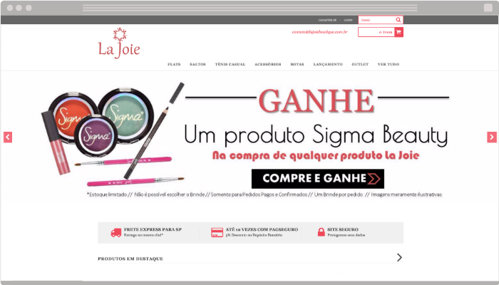 Layout loja virtual