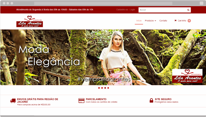 Layout loja virtual Lila Arantes Nuvem Shop