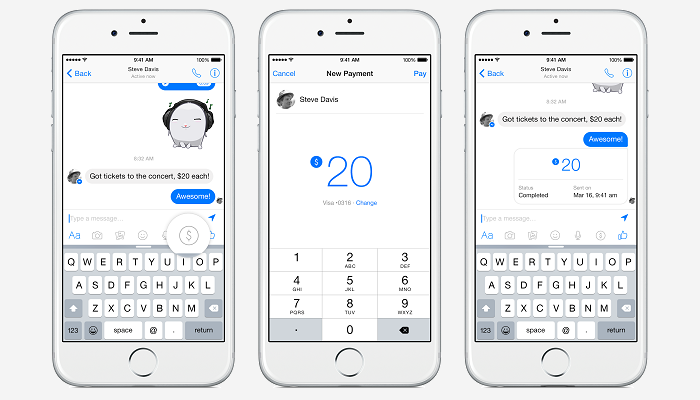 Facebook permitirá envio de dinheiro por messenger