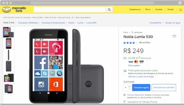 Exemplo de anuncio MercadoLivre