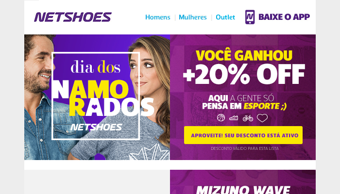 E-mail marketing Loja Netshoes Dia dos Namorados