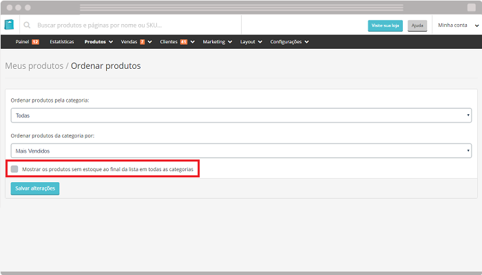 Ordenar produto em loja virtual