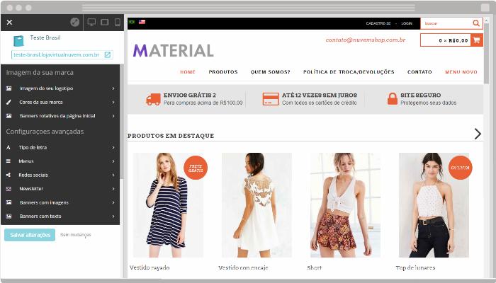 Personalização de layout Nuvem Shop