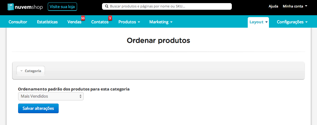 Ordenamento de produtos ecommerce