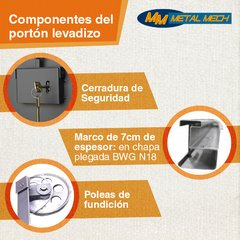 Portón Levadizo manual con puerta de escape central 2.70 x 2.35 Ideal camioneta y 4x4 Chapa Nº 20 - Metal Mech