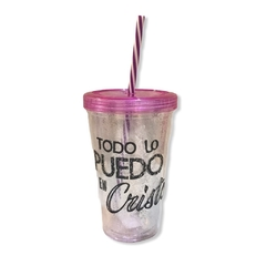 Vaso doble con glitter Violeta - 500 ml
