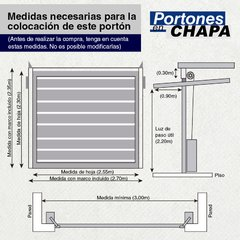 Portón Levadizo manual de chapa Nº 18 con puerta de escape central. De 2.70 x 2.35 Ideal camioneta o 4x4