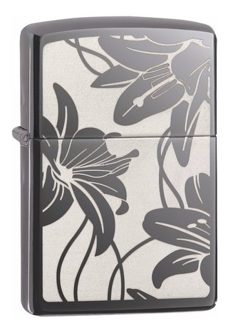 Isqueiro Zippo Black Ice Floral - Lily - 29426