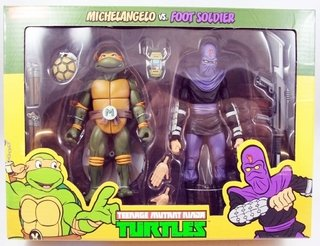 Michelangelo Vs. Foot Soldier Cartoon 2 Pack Tmnt 7´´ Neca