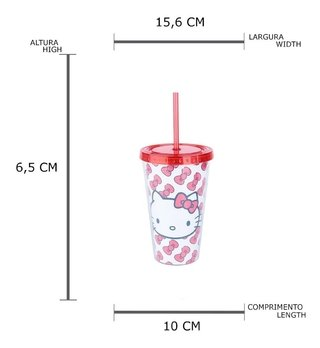 Copo Plástico Com Canudo Hello Kitty 500ml Licenciado Urban