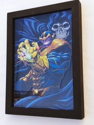 Quadro 3d Thanos Com A Morte Marvel 32x23 Cm