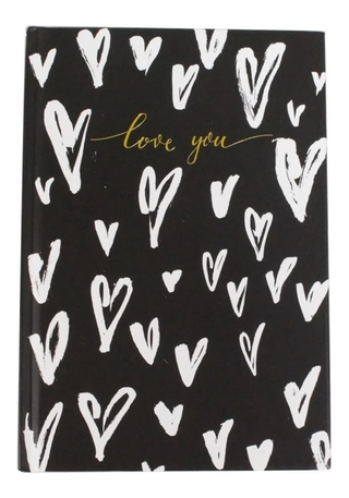 Caderno Bee Unique Capa Dura Pautado Love You Preto A5