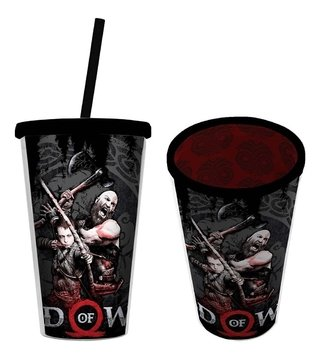 Copo Plástico Com Canudo God Of War - 500ml Licenciado Urban