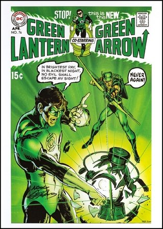 Print Green Lantern and Green Arrow - autografado por Neal Adams - 42 cm x 30 cm
