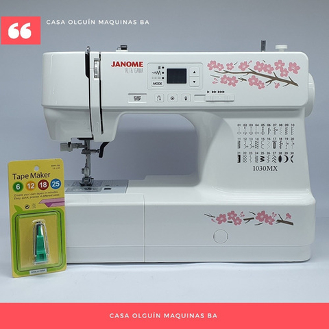 Nueva Janome 1030mx + Tape Maker 6mm Digital Luz Led 30 Pun
